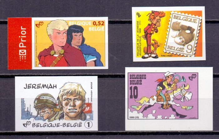 Belgium 1988/2008 - Robbedoes, Jeremiah, Lucky Luke and Alex, imperforate with rear numbers
