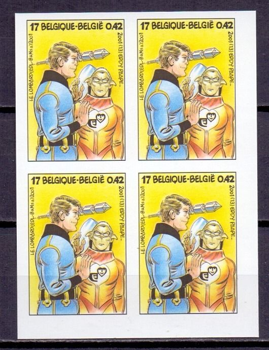 Belgium 2001 - Luc Orient - Imperforate block of four - With rear number - OBP 3010