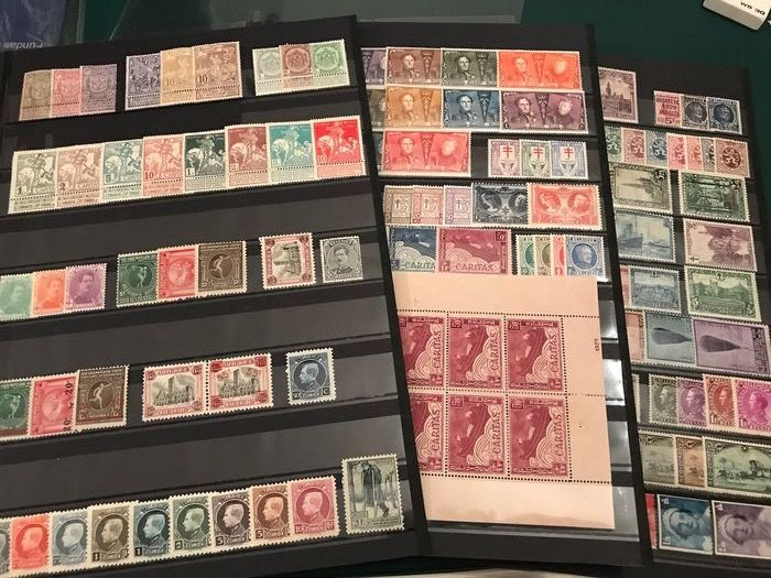 Belgium 1894/1934 - Selection of complete issues with anniversary sets, castles, landscapes and sheetlet boat - OBP / COB