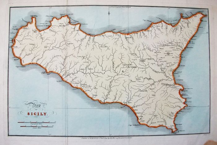 Italia, Sicilia; William Henry Smyth / John Murray - Map of Sicily - 1821-1850