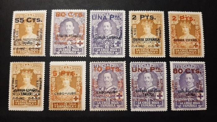 Spain 1927 - 25th Anniversary of the coronation of Alfonso XIII. Complete set of 10 values. Comex certificate. - Edifil 392/401