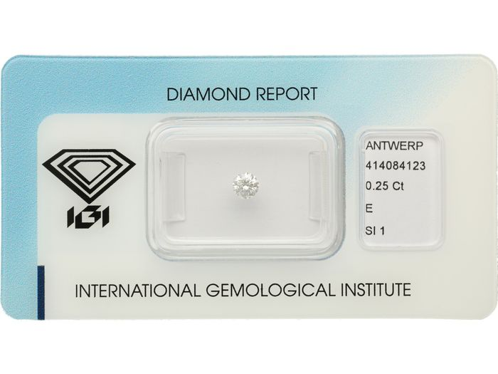 1 pcs Diamant - 0.25 ct - Brillant - E - SI1 ***No Reserve***