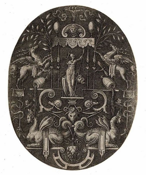 Etienne Delaune (1518-1595), (French Small Masterengraver). - The godess Bellona under a canopy. Ornamental engraving with two sphinxes.