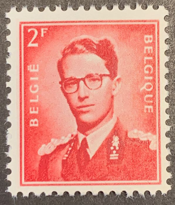 Belgium 1953 - Baudouin with glasses - Rare nuance BLOOD RED - ROUGE SANG - MNH - OBP / COB 925b