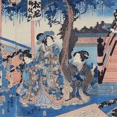 "Trittico originale con stampa xilografica - Carta - Utagawa Kunisada II (1823-1880) - ""Tenmangû sankei no zu"" 天満宮参詣之図 (Visiting the Tenmangû Shrine) - Giappone - 1847-52 (Kôka 4-Kaei 5)"