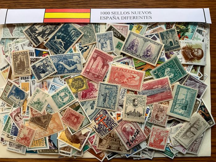 Spain - Collection of 1,000 different mint stamps from Spain