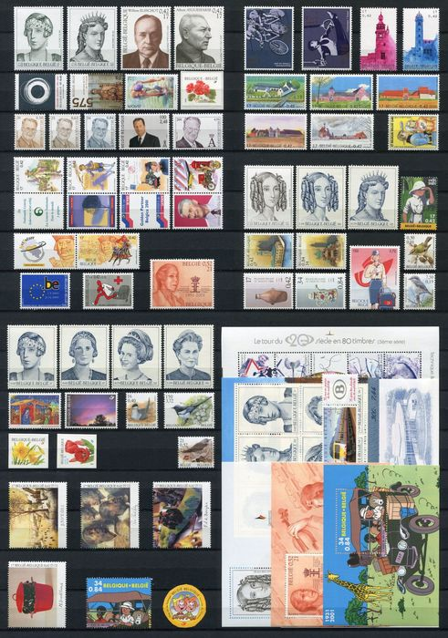 Belgium 2001 - Year collection organised on DAVO album pages