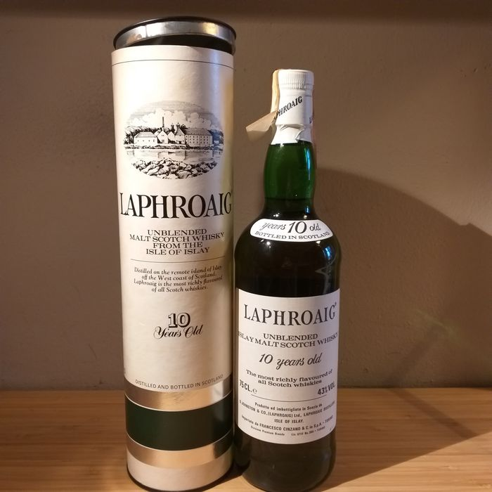 Laphroaig 10 years old Unblended Islay Malt Scotch Whisky - Original bottling - b. 1987 - 75cl