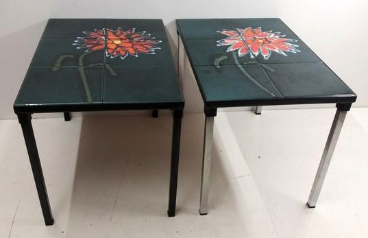 Side table, Two side tables with ceramic tiles