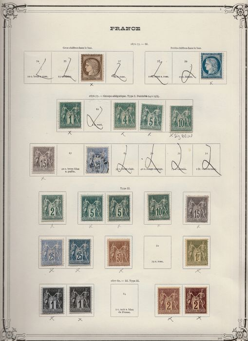 Frankreich 1871/1900 - Beautiful set of classic Sage stamps, including signed Brun on Yvert pages, Value: more than 17,000 euros - Yvert Entre les n°56 et 106