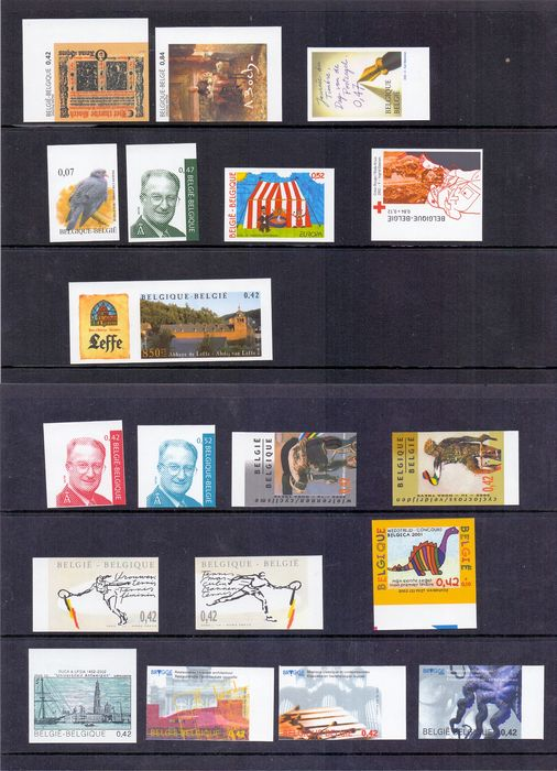 Belgium - Selection of imperforate stamps from the year 2002 with royal images and Europa stamp, and more