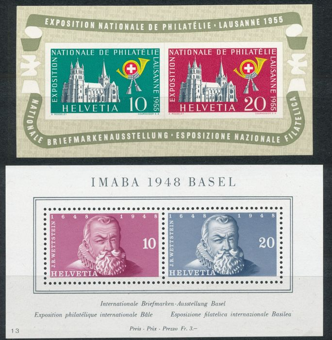 Switzerland 1943/1955 - Five block issues - sbk 8, 9, 10 13 en 15
