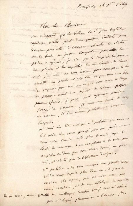 Esprit Requien - Autograph; Letter for Request Samples of Shells and Plants from Ajaccio - 1849