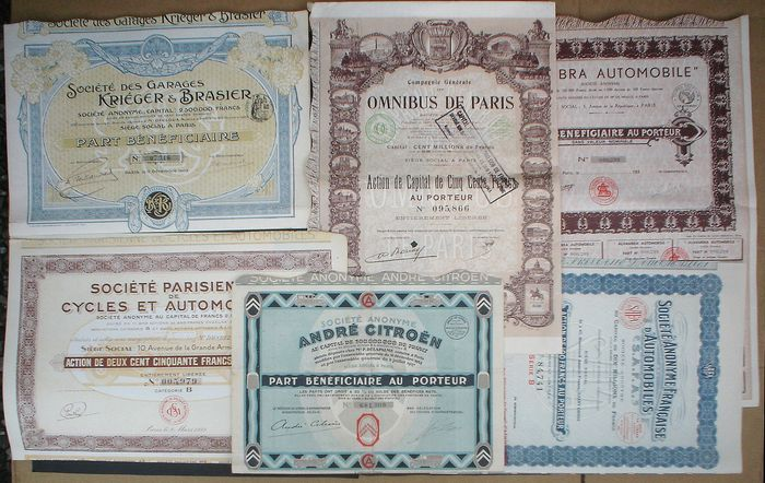 14 x Automobiles 1 x Citroen and more - Certificats d'actions (14) - Papier