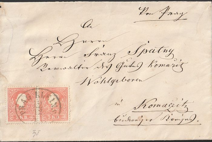 Austria 1858/1863 - 3 circulated letters with stamps from 1858 type I and from 1863 with 3 stamps no. 26 - ANK Spezial 2020  und  Ferchenbauer Brief mit Paar13I - Brief mit 15I - und Brief mit 3 x 26