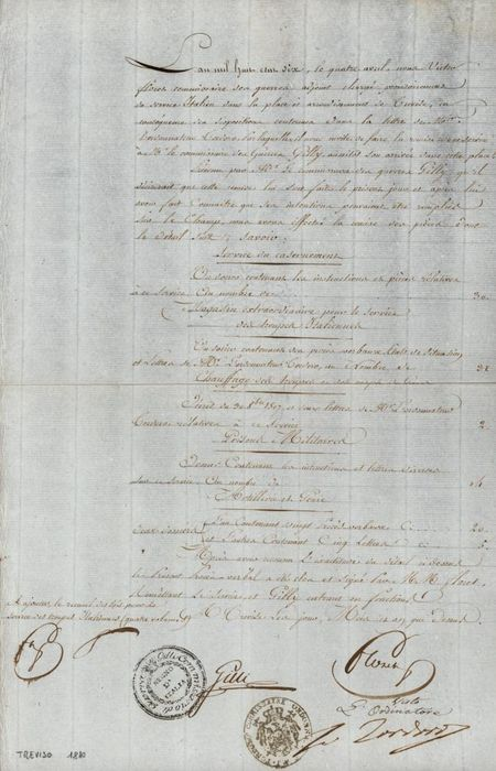 Giovanni Tordorò Minister of Napoleon Bonaparte - Autograph; Military Dispatch with Delivery of Supplies for Visit Commissioner Gilli - 1810