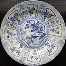 Bord (1) - Kraak porselein - Porselein - Large plate 36 cm d. - China - Wanli (1573-1619)