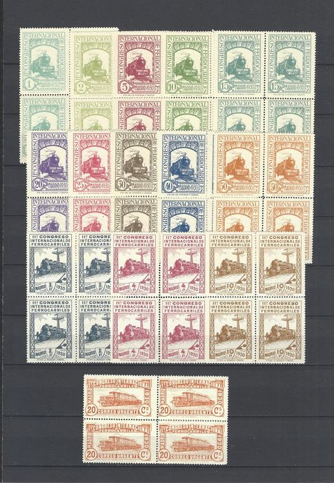 Spain 1930 - Railways post in block of 4 - well centred - Edifil 469/482