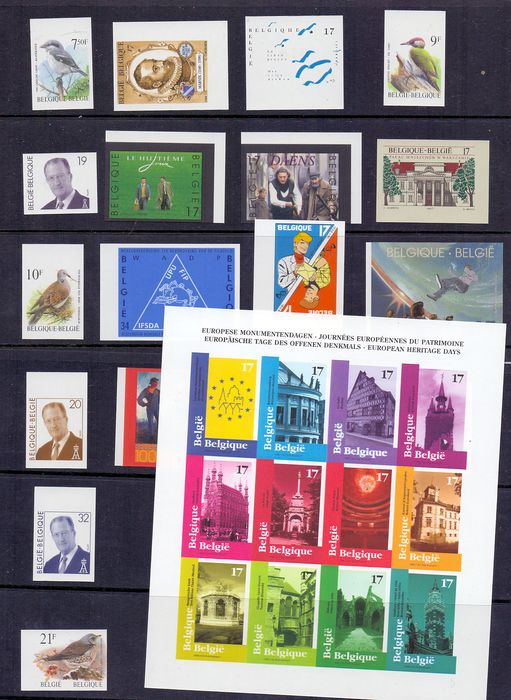 Belgium - Selection of imperforate stamps and block of the year 1998