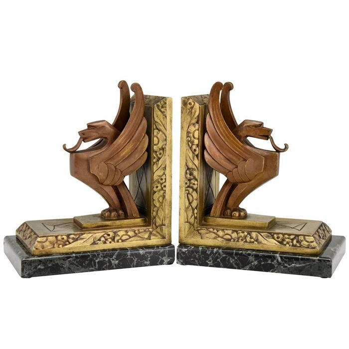 Limousin - Art Deco bookends with griffins