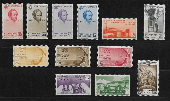 Italy Regno 1935/1937 - 2 Series cpl. Bellini and Augustus. mail and airmail. - Sassone NN. 388/393, 416/425, A90/A94 y A106/A110