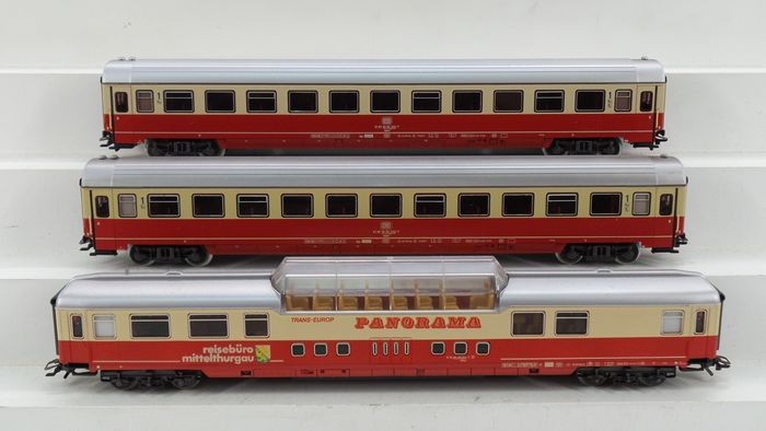 Märklin H0 - 4169/4224 - Passenger carriage - 3 express train carriages with a panorama carriage - DB