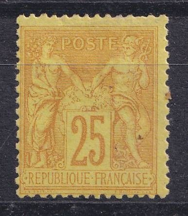 France 1879 - VF 25 centimes Sage bistre on yellow - Yvert 92