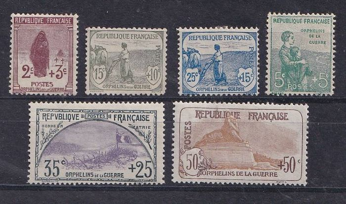 France 1917 - 'Grands Orphelins' series, the first 6 - Yvert 148 à153