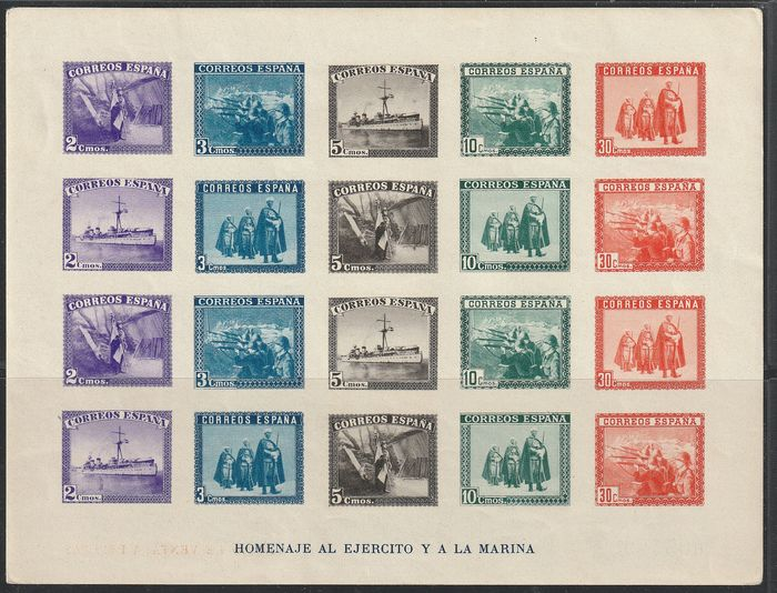 Spain 1938 - In Honor of the Army and the Navy -Miniature sheet - Imperforated - Edifil 849