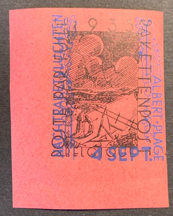 Belgium 1935 - Erinnophilia Duinbergen Rocket mail - Red/rouge - With sheet edge - OBP / COB E12