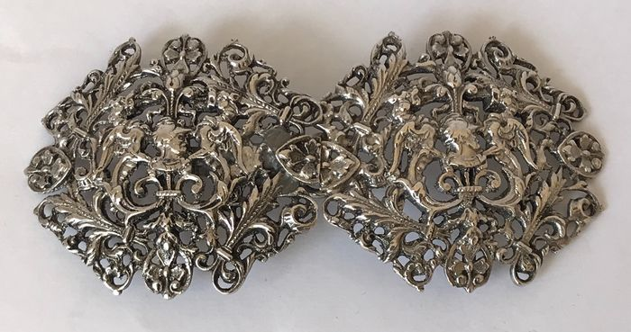Antique Silver Belt Buckle - Silver - Europe - Late 19th century