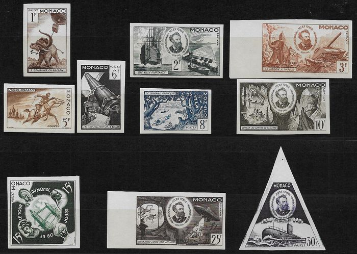 Monaco 1955 - Complete set of 10 stamps, imperforated, colour essay - Yvert 427/436