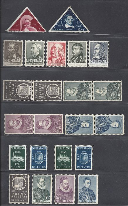 Netherlands 1923/1938 - Eight complete issues - NVPH 252/255 (3 x), 287/288, 318/322, 325/326 (2 x)