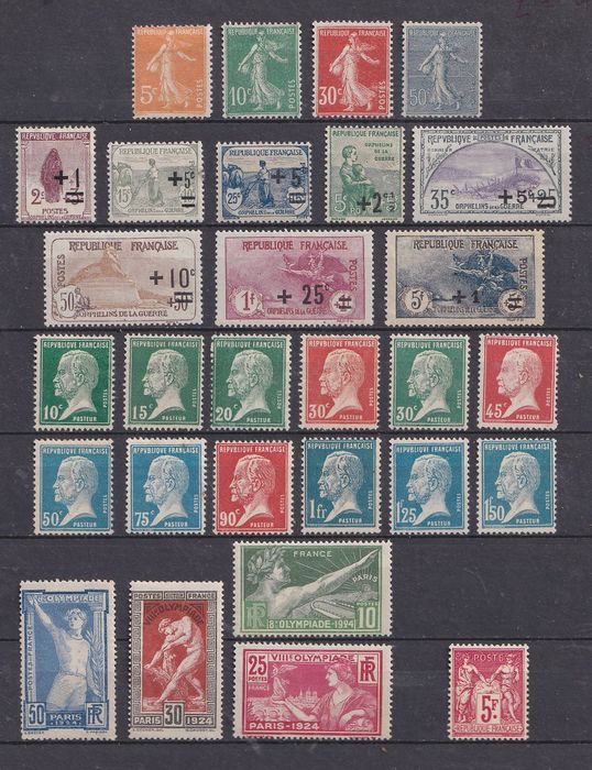 France 1922/1925 - Very Fine set of complete series, including 2nd War Orphans series. - Yvert 162 à 181, 183-187, 216