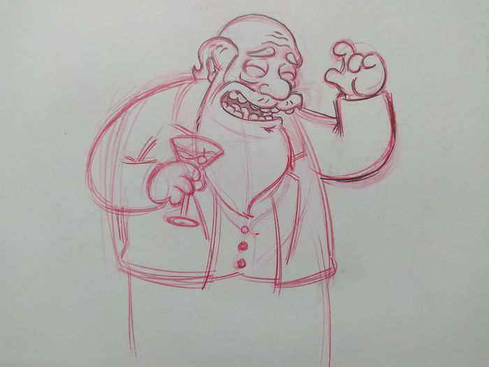 The Simpsons - Original drawing of Charles Darwin (Episode: The Monkey Suit) - Unique, VERY RARE