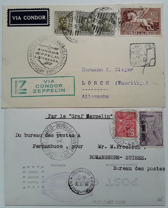 2 Zeppelin Documents - 2 Zeppelin documents - Brazil Post 1931 - Uruguayan Post 1934