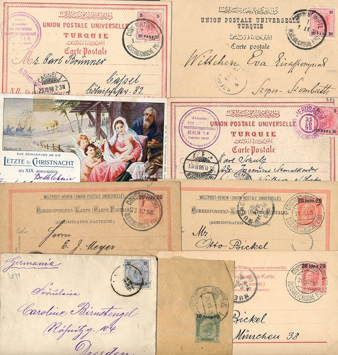 Austria 1891 - Lot with 9 documents of the post in Turkey