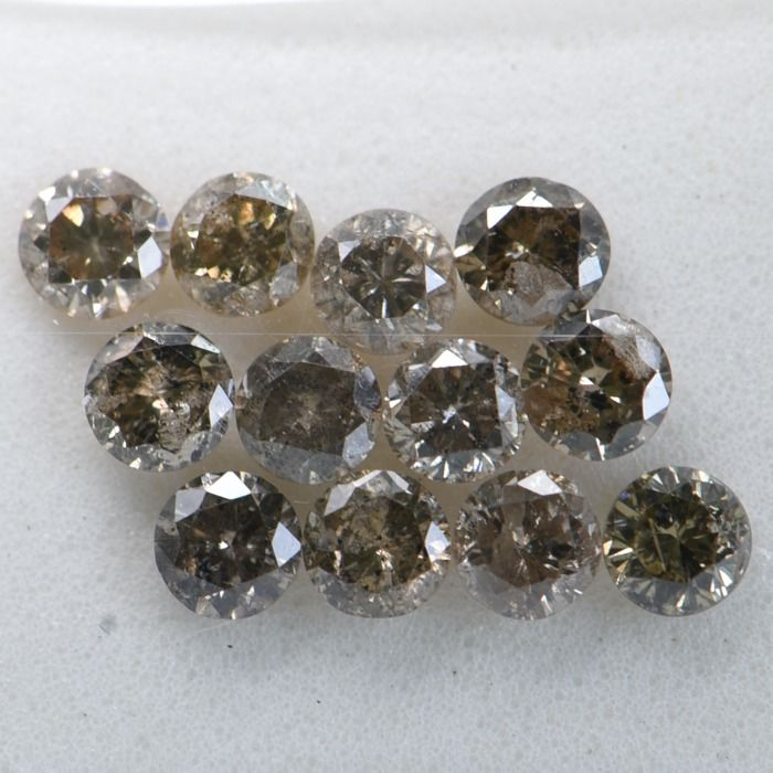 "12 pcs Diamant - 1.09 ct - Brillant rond - Brown - I1-I2     ""GWLAB certified    ** No Reserve Price **"