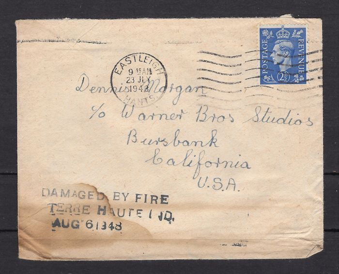 United States of America 1948 - Rare damaged letter, damaged in a train accident in Terre Haute, Indiana.