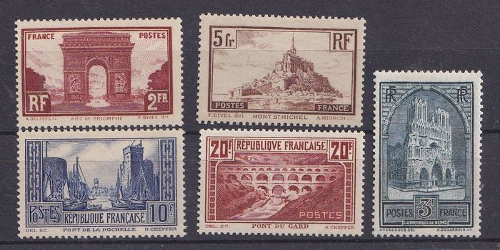 France 1930 - Sites and monuments, full series. - Yvert 258-262