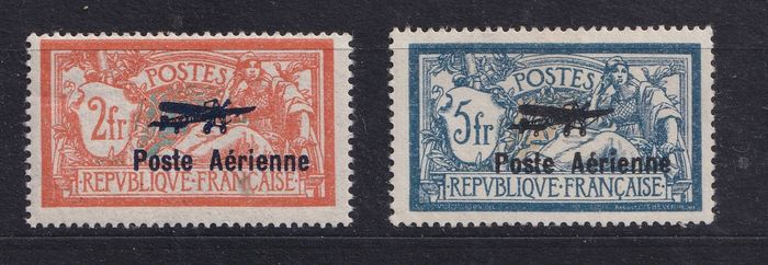 France 1927 - Airmail, type Merson, with overprint. - Yvert pa 1/2
