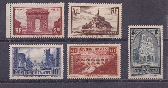 France 1930 - Sites and monuments, full series ** - Yvert 258 à 262