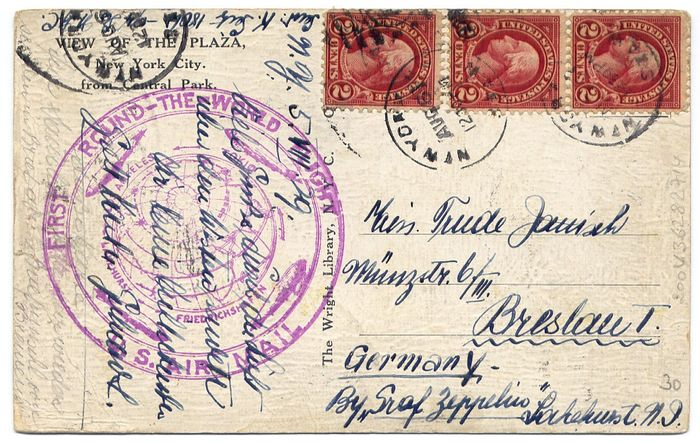 United States of America 1929 - Zeppelin : America flight / Amerika-fahrt - Illustred card sent from New York  to Beslau Sieger 28 A, Michel 28 A