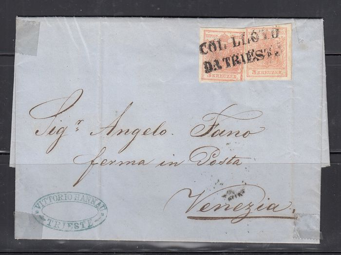 Austria 1850 - Letter from Trieste with straight block cancellation COL LLYO DA TRIESTE on pair of 15 Kr - Sassone 3