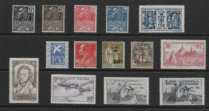 France 1919/1936 - Batch of 9 complete sets - Yvert 157/310 , P.A 7 y E.A. 1/2