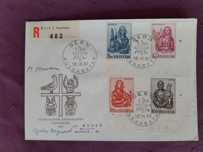 Switzerland 1961 - Evangélistes series, FDC, signed by the draughtsman and engraver. - Zumstein 381-384 / Mi 738-741