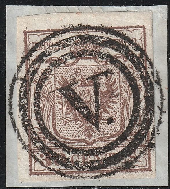 Italian Ancient States - Lombardo Veneto 1850 - 1st issue 30 c. 1st issue on fragment, mute cancellation of Venice, rare and certified - Sassone N.7b