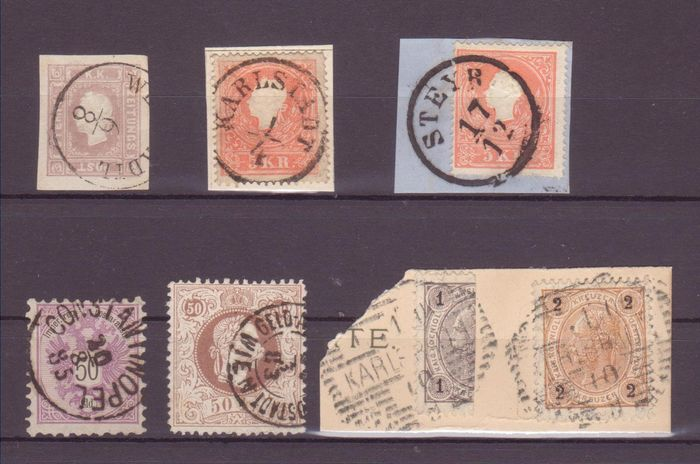 Austria 1858 - Selection of stamps of the early period