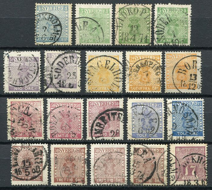 Sweden 1855/1858 - Selection classics with shades and varieties - Michel 2, 7 (3x), 8 (2x), 10 (3x) 12 (3x), 11 (4x), 9 (2x) 15,