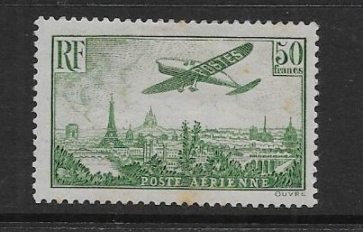 France 1936 - 50f stamp. Plane flying over Marseille. Airmail - Yvert P.A. 14